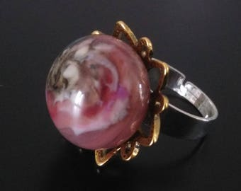 Flower ring: Sun - between glass and stone