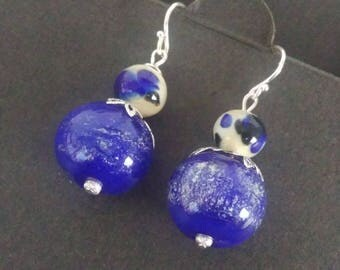 Lapis silver and ivory with fritt and sparkle blue aventurine glass earrings