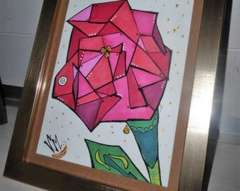 pink rose, framed drawing pens