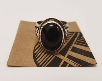 Statement Onyx Silver Ring