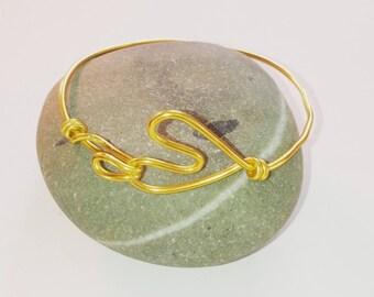 heart gold aluminum Wire Bracelet