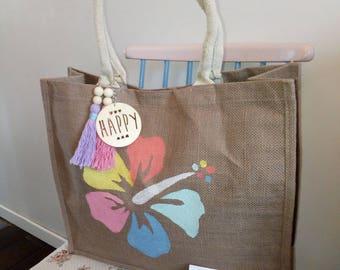 """Hibiscus"" jute basket, beach/Shopping tote bag"