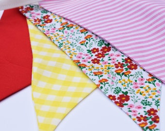Bunting flags 3M vintage gingham, floral and stripe fabrics in bold colours