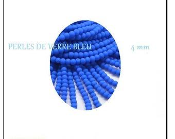 Blue matte glass round beads