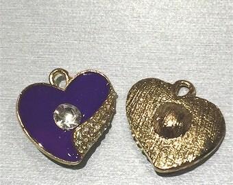 Golden Heart enamel purple + rhinestones