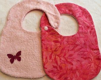 butterflies in pink and orange crazy baby bib