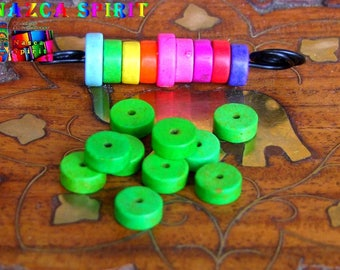 20 wheels dyed Howlite beads 8 mm to ∅ Lime Green / thickness: 3 mm