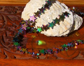 50 silver tone stars titanium Hematite Rainbow quality AAA - size 8 mm beads
