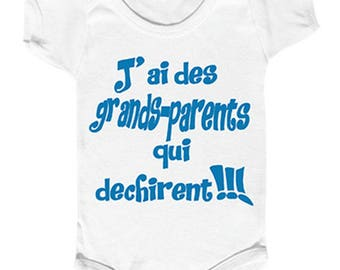 "onesie ""I have grandparents who rocks"" message humor for Grandma and Grandpa."