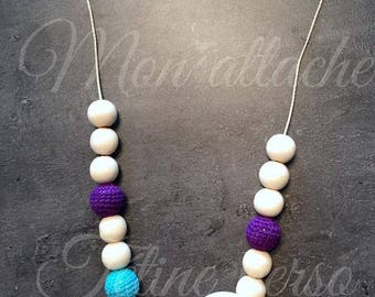 breastfeeding and Babywearing necklace ~ turquoise and plum pattern