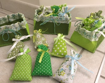 handmade felt and 6 sachets of lavender, unique gift basket