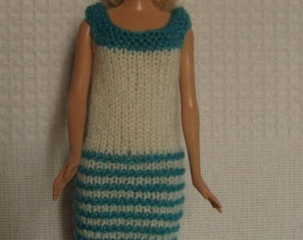 Turquoise and Ecru dress for Barbie doll clothes