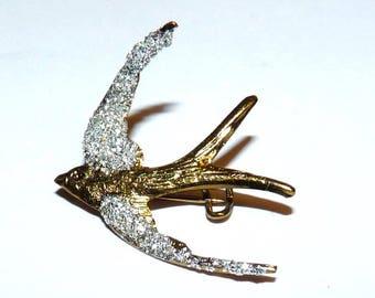 Golden swallow and glitter jewelry for women girl child bird brooch