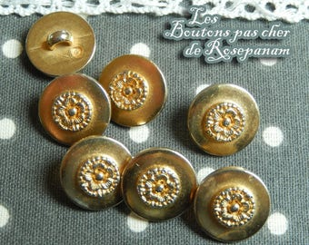 7 small round gold colored fancy buttons flower pattern in the Middle shank diameter 1.4 CMS buttons for blazers or men's cardigan