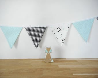Garland of 10 flags in fabric - fabric white black triangles - green fabric printed white triangles - fabric white pandas print