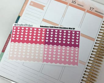 Solid Valentines Day Heart Checklists for the Mini Happy Planner