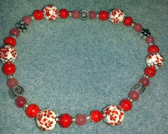 Romantic Bouquet of flowers 3 red and silver bracelet