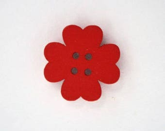 19mm x 10 flower wooden button: Red - 001871