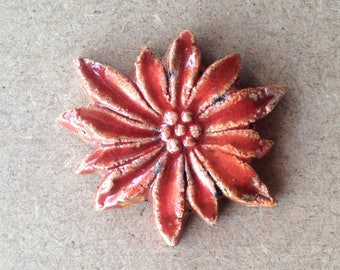 "Orange flower ""Edelweiss"" raku pottery for Mosaic, jewelry or any other design (4)"