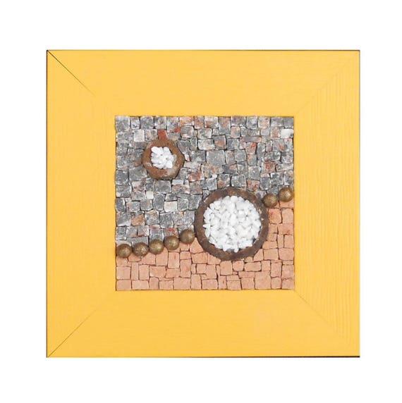 petit tableau mosaique marbre terre cuite clous et m tal. Black Bedroom Furniture Sets. Home Design Ideas