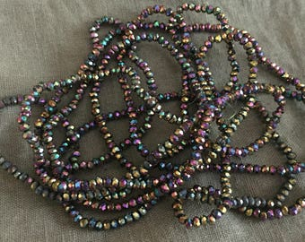 1 strand of micro metallic beads 2.5 / 2mm, pearls irriseess/row 195 approx. beads donuts, Crystal beads