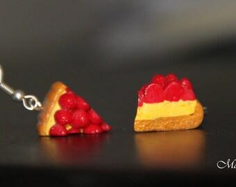 "Pair of greedy earrings ""Strawberry pie"""