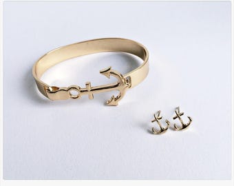 Golden anchor bracelet, anchor earrings GOLD