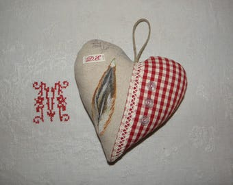 """Feather"" ref.1526 heart door pillow"