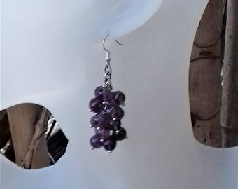 Silver plated earrings with 17 beads of amethyst cluster / stone of wisdom