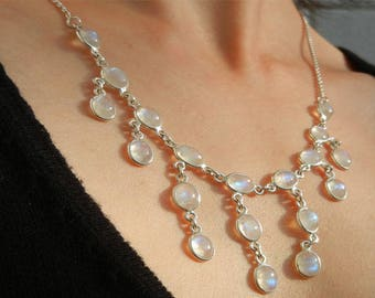 White Labradorite charm Necklace (Moonstone) in solid 925 sterling silver