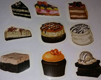 set of 9 originals stikers cake gourmet