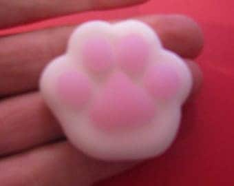 anti stress silicone soft pink and white cat paw