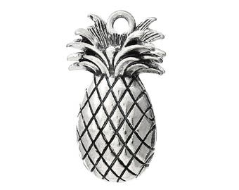 Silver plated 25mm x15mm pineapple charm