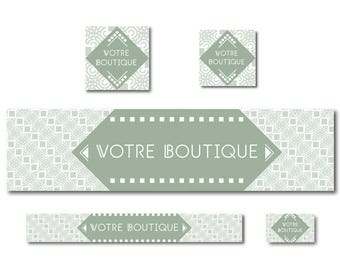 Elegant shop banner and simple small green squares