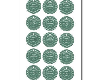 Customizable labels, green and white round label for shop graphic design, gift tag