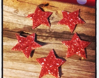 set of 5 stars 3.5 cm fabric glitter Red