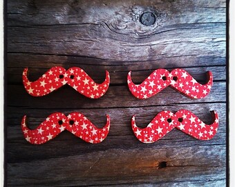 Set of 4 Wood Mustache 30 mm x 10 mm red star patterned buttons