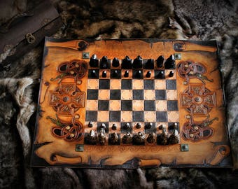 Viking Celtic Gaelic medieval inspired carved leather chessboard with Isle of lewis style pieces and storage