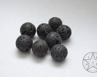 set of 10 beads 10mm black lava stone
