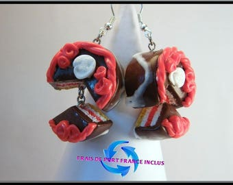 Whipped cream/chocolate/Strawberry cake earrings polymer clay.