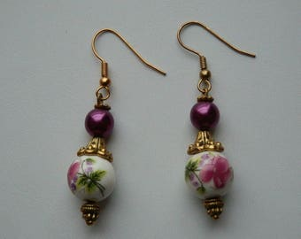 "Earrings round porcelain and Pearl ""Les Fleurs"""
