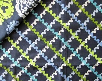 """Geometric"" - green blue VERA BRADLEY pattern cotton fabric"