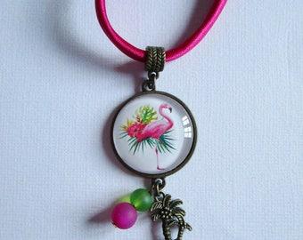 """Flamingo III"" bronze cabochon necklace, costume jewelry"