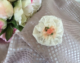 Lace with small pink flower 6 cm