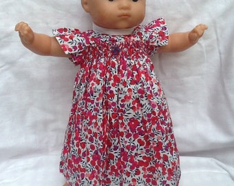 Liberty Wiltshire red dress has smocked doll 36 cm