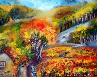 VINES of southern original figurative painting evocative of French wine tradition 46 X 33 cm