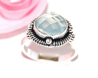 Fine silver and blue chalcedony 925 Silver ring - size 56