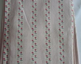 1 FABRIC COUPON with stripes and pink and green FLEURETTES