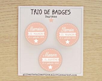 Trio sponsor 3.8 cm badges / name + date + color