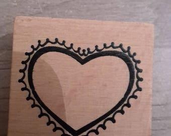 Heart wooden stamp